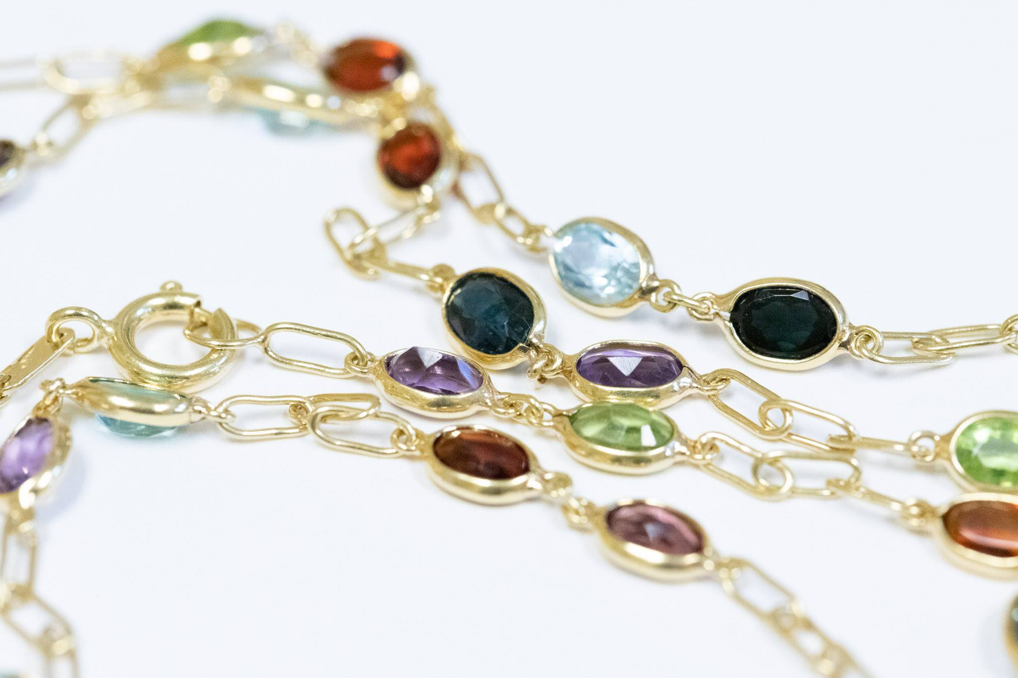 Ladies 18K Yellow Gold Colored Gemstone Necklace